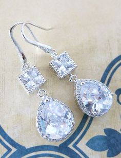 Jeanette - Luxe Cubic Zirconia Halo style Teardrop dangle Earrings http://ift.tt/1rLl4b7