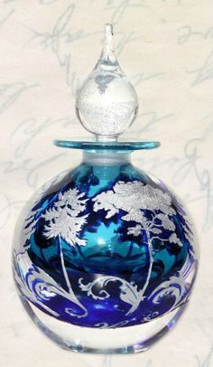 blue glass perfume bottle