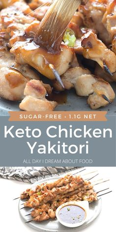 Chicken yakitori is an easy and delicious appetizer or main dish. And this keto yakitori recipe is sugar-free and yet maintains all the classic flavor. Keto Chicken, Chicken Recipes, Shrimp Recipes, Turkey Recipes, Chicken Yakitori Recipe, Low Carb Recipes, Cooking Recipes, Kitchen Recipes, Free Recipes