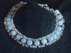 Misty blue angelite right angle weave by twistedlinksjewelry, $25.00