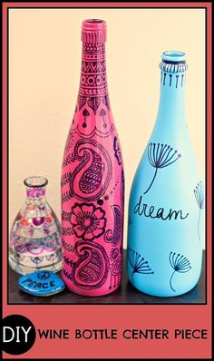 WOW! Save those old wine bottles for a great centerpiece!