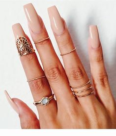 <3 Rings, midi, nude nail polish.
