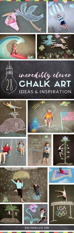 Sidewalk Chalk Art Ideas for Kids | These creative driveway illusions are totally awesome! Easy drawings to incorporate your baby, child or teen. Plus tons of other sidewalk chalk games and activities for outdoor summer fun.