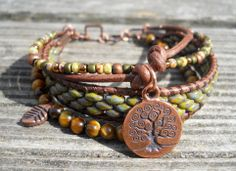 Tree of Life // Tiger Eye // Multi Layer Snake Skin by DeLucaArt, $45.00