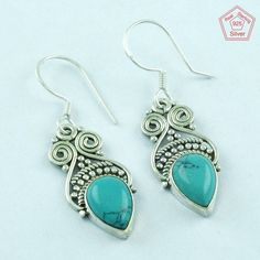 3.5 gm SilvexImages 925 Sterling Silver Turquoise Stone Heavenly Earring 5099 #SilvexImagesIndiaPvtLtd #DropDangle
