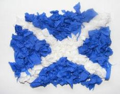 #StAndrewsDay craft idea for #children. All you'll need is blue and white tissue paper and some PVA glue.