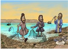 """Matthew 4:18-20~  One day as Jesus was walking along the shore beside the Sea of Galilee, he saw two brothers—Simon, also called Peter, and Andrew—fishing with a net, for they were commercial fishermen. Jesus called out to them, """"Come, be my disciples, and I will show you how to fish for people!"""" And they left their nets at once and went with him."""