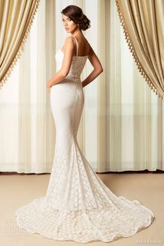 alice design romania bridal 2015 sleeveless sheath lace wedding dress straps back view train