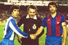 Saludo antes de un Barça-Espanyol, con Alexanko