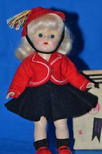 """Vintage 8"""" Vogue Ginny Doll in Tagged Outfit and Vogue Suitcase"""