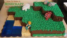 How to Make and Decorate a Minecraft Landscape Birthday Cake - DustinNikki Mommy of Three cake easy Minecraft Birthday Cake, Easy Minecraft Cake, Minecraft Crafts, Minecraft Party, Minecraft Skins, Lego Minecraft, Minecraft Ideas, Birthday Party Themes, Boy Birthday