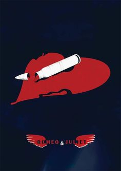 A minimal poster for baz luhrmann's Romeo and juliet by P Brain Illustration Romeo And Juliet Poster, Juliet Movie, Minimal Movie Posters, Minimal Poster, Brain Illustration, Love Film, Alternative Movie Posters, Comedy Movies, Minimalist Art