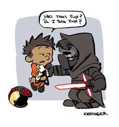 Poe vs. Moe (Calvin and Hobbes and Star Wars mashup) - by Brian Kesinger