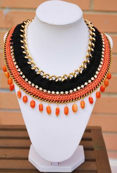Orange Crochet necklace gold chain necklace with beads by kolibry, €25.00