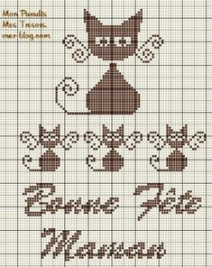 gatto e chaton4- cat cross stitch- cute!