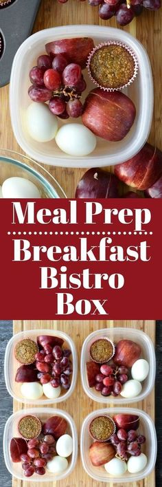 Hard-boiled eggs, fruits, and a muffin. Awesome bistro box meal prep!