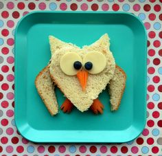 Fun food Mama Sprinkles heart shaped owl for Valentine's Day.