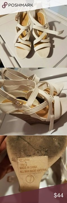 Just Fab wedge high heels Worn only once, 5 of 4.9 conditions(close to new Except bottom of the shoes!)us size 7.5 JustFab Shoes Wedges