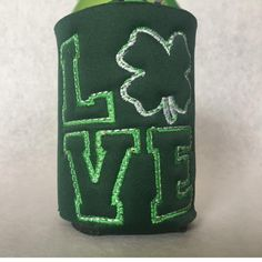 Love Shamrock can holder by CjsAStitchinTime on Etsy