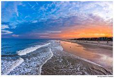 Landscape Art Print of Golden Orange Sunset Over Tybee Island Beach