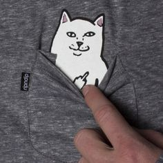 Secret middle-finger cat t-shirt for dealing with assholes.