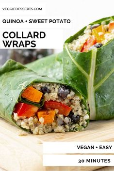 Collard Green Wraps filled with sweet potato and quinoa are a tasty light lunch, side dish or appetizer. They're super easy to make and full of nutritious ingredients. A healthy sandwich alternative. Vegan and gluten-free. Vegetarian Sandwich Recipes, Veggie Sandwich, Healthy Sandwiches, Vegetarian Lunch, Collard Green Wraps, Collard Greens, Dinner Recipes Easy Quick, Vegan Recipes Easy, Vegan Meals