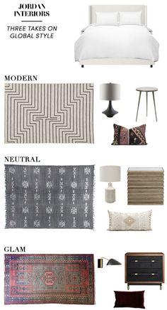 Three takes on global bedroom decor // Jordan Interiors  #interiordesign  #interiorstyling  #globalbedroom  #globaldecor  #bohodecor  #bohobedroom  #moderneclectic  #eclecticbedroom  #bedroomdecor  #bedroomdesign
