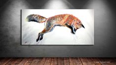 Leap is a contemporary painting of a colorful red fox leaping in the snow, by World Renowned Contemporary Wildlife Artist Teshia. Live Life Colorfully with the TeshiaArt Collection! Contemporary Paintings, Fine Art Prints, Moose Art, Original Paintings, Art Gallery, Wildlife, The Originals, Foxes, Canvas