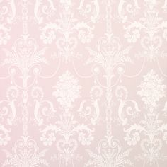 """Josette"" wallpaper in amethyst pink with white Rococo damask scrolls from Laura Ashley-KINGSLEY BATHROOM. Girl Nursery, Girl Room, Girls Bedroom, Bedroom Decor, Bedroom Ideas, Bedrooms, Laura Ashley Josette Wallpaper, Pink Wallpaper, Office Wallpaper"