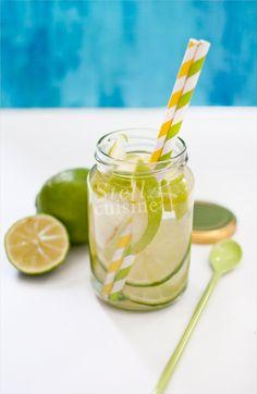 Detox water pomme granny et citron vert.
