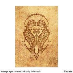 Vintage Aged Gemini Zodiac 3.5x5 Paper Invitation Card