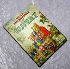 1953 More Adventures of Rupert Bear Daily Express Annual Childrens Book, Vintage, England English Great Britian Cartoon Comic Strip by OakwoodView on Etsy, $26.00