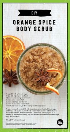 Orange Spice Body Scrub 1 cup ml) turbinado sugar cup ml) jojoba… Body Scrub Recipe, Diy Body Scrub, Sugar Scrub Recipe, Diy Scrub, Dried Orange Peel, Sugar Scrub Homemade, Sweet Orange Essential Oil, Beauty Recipe, Soap Recipes