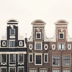 Three Gables - Amsterdam Print, Travel Photography, Canal Houses, Windows, Architecture, Home Decor in Neutral Brown and Beige, 8x8
