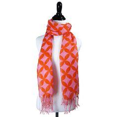 Pink & Orange Cashmere Scarf.
