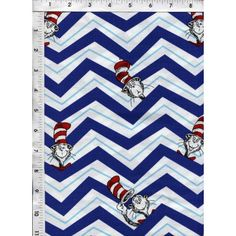 Everyone's favorite, The Cat in the Hat, pops in for a visit on this delightful blue, white and aqua chevron fabric! BTFQ only. www.americasbestthreads.com