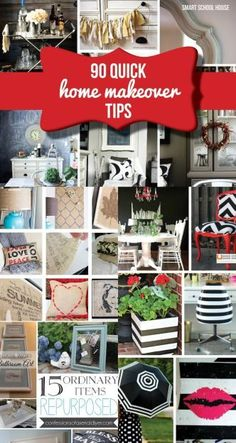 90 Quick DIY Home Makeover Tips for a fresh home decor look! Great list if ideas!