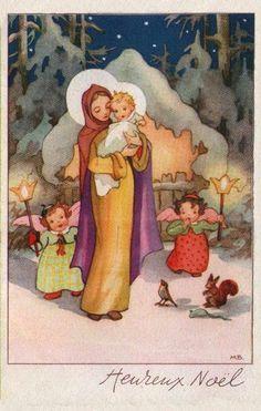 M.B. - French vintage Christmas card