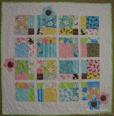 Cute applique flowers - use GO die   Piece N Quilt: 9 Birdie Baby Quilt Tutorial