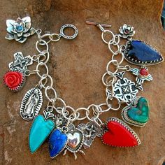 Elvira's Love and Faith Charm Bracelet Southwestern Silver Jewelry Santa Fe Native Style Sterling Heart and Cross Turquoise Silver Charms, Sterling Silver Bracelets, 925 Silver, Silver Rings, Broken China Jewelry, Stone Heart, Bohemian Jewelry, Bold Jewelry, Bohemian Gypsy