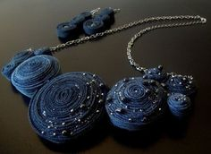Items similar to Cool Denim Necklace & Earring Set on Etsy Felt Necklace, Diy Necklace, Textile Jewelry, Fabric Jewelry, Jewelry Crafts, Handmade Jewelry, Jewellery Diy, Custom Jewelry, Fabric Flower Necklace