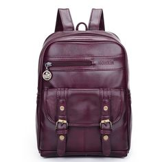 High-Quality PU Leather Buckle Messenger-Style Vintage Fashion Backpack 4 Colors