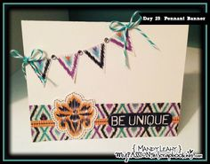 Day 25: Pennant Banner Card for the Card-A-Day Challenge using the #CTMH Sarita My Stickease Pack. {Created by Mandy Leahy}