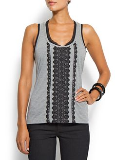 Relaxed-fit laced top