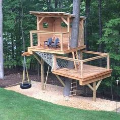 Playhouse with hammock net Tree house with hammock net Two level tree house Two . Playhouse with hammock net Tree house with hammock net Two level tree house Two level playhouse Backyard Playground, Backyard For Kids, Backyard Projects, Wood Projects, Project Projects, Nice Backyard, Fenced In Backyard Ideas, Backyard Fort, Backyard House