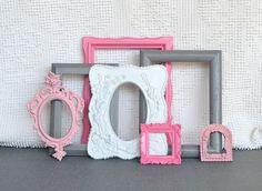 Pinks, Grey White Smaller Frames Set of 7 - Upcycled Painted Ornate Frames Girls or Nursery bedroom decor