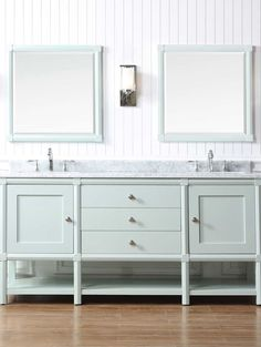 Introducing the Martha Stewart Living Sutton Bath Vanity Collection available at /homedepot/. Pictured Here: The Sutton 72 in. Vanity in Rain Water with Marble Vanity Top in White/Grey with White Basins