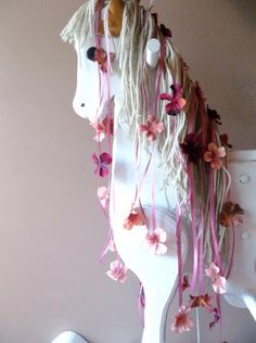Vintage Rocking Horse ALtered WHite Shabby CHic by 3vintagehearts, $255.00