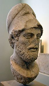 """Pericles - (c. 495 – 429 BC) was the most prominent and influential Greek statesman, orator and general of Athens during the Golden Age—specifically, the time between the Persian and Peloponnesian wars.   Pericles had such a profound influence on Athenian society that Thucydides, his contemporary historian, acclaimed him as """"the first citizen of Athens"""".["""