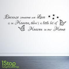 BECAUSE SOMEONE WE LOVE IS IN HEAVEN WALL STICKER QUOTE - WALL ART DECAL X77